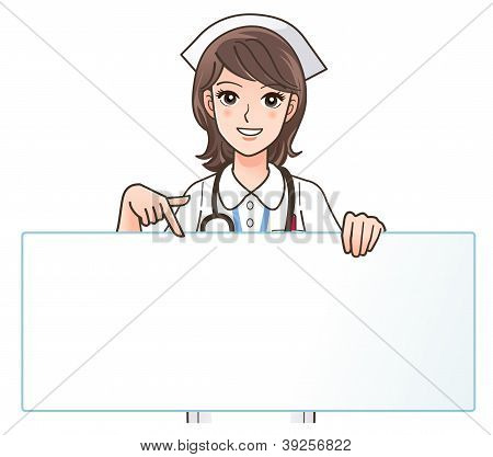 A Cute Smiling Nurse Pointing To A Blank Board - Copyspace