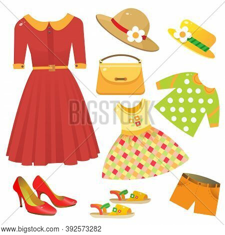 Set Of Female Clothing. Red Dress, Women Shoes On Heel, Children's Clothes, Summer Sandals, Hat, Han