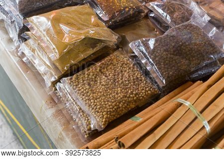 Spices Sold At Market In Victoria, Seychelles