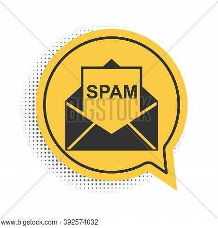 Black Envelope With Spam Icon Isolated On White Background. Concept Of Virus, Piracy, Hacking And Se
