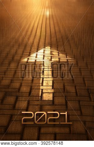 2021 New Year And Arrow On The Road Background. Forward New Year Concept With Arrow And 2021 Number