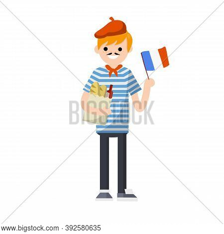 Young French Guy In Striped T-shirt With Red Tie. Man With Flag Of France, Package Of Products - Bre