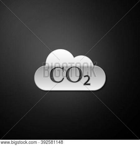 Silver Co2 Emissions In Cloud Icon Isolated On Black Background. Carbon Dioxide Formula Symbol, Smog