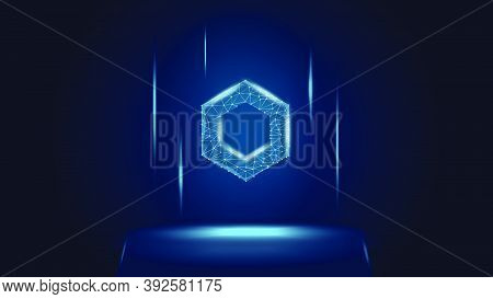 Chainlink Link Token Symbol Of The Defi System Above The Pedestal. Cryptocurrency Logo Icon. Decentr