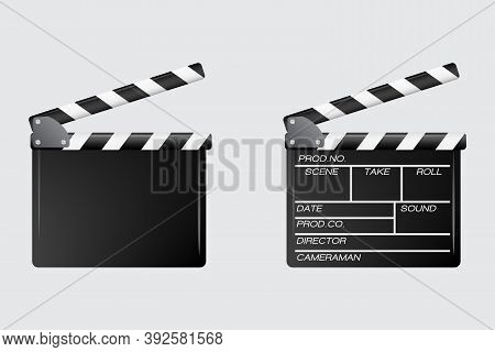 Real Clapper Cinema  And Cinematography Details. Film Time Vector Isolated Illustration
