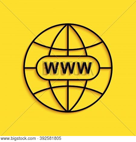 Black Go To Web Icon Isolated On Yellow Background. Www Icon. Website Pictogram. World Wide Web Symb