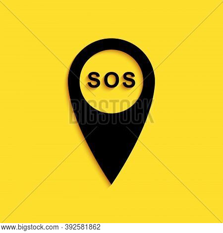 Black Marker Location With Sos Icon Isolated On Yellow Background. Sos Call Location Marker. Map Poi