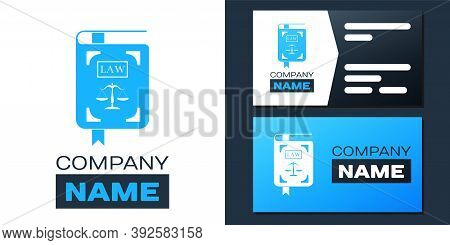 Logotype Law Book Statute Book With Scales Of Justice Icon Isolated On White Background. Logo Design