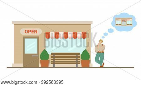Man Stands Near The Shop And Thinks To Buy Bigger Shop And Expand His Business. Vector Illustration