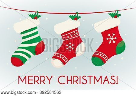 Christmas Cute Stocking For Gift Place Inside. Decoration For Home And Fireplace With Candy. Happy N