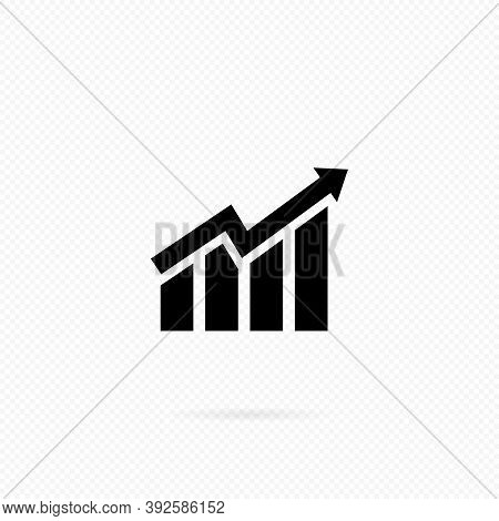 Ascendant Bars Graphic Icon With Rising Arrow. Histogram Icon In Black. Infographic. Chart Icon. Upw