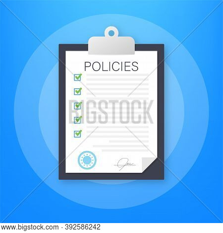 Policies In Flat Style. Checklist Icon. Corporate Document. Corporate Document. Information Reminder