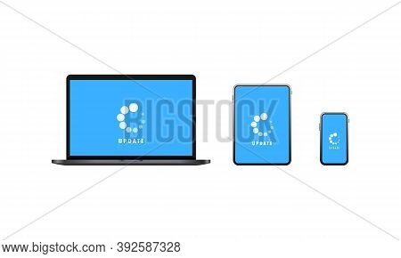 Devices Update Icon. Laptop, Tablet And Smart Phone Software Update. Downloading Data Concept. Vecto