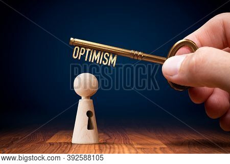 To Be Optimistic And Think Positive Concept. Key To Your Optimism Is In Your Hand And Open Your Pote