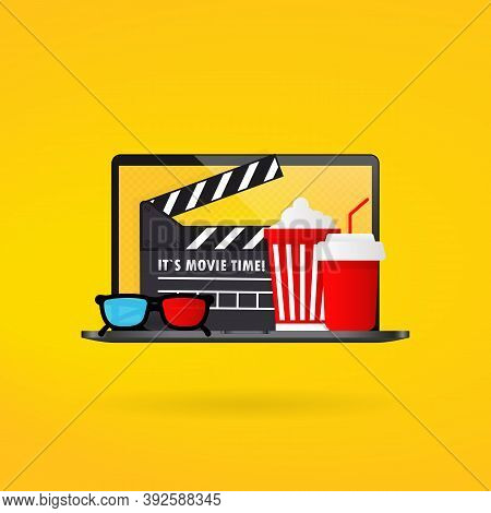 Cinema Time Banner. Popcorn Bowl, Film Strip And Tickets, Film Glasses. Vector On Isolated Backgroun