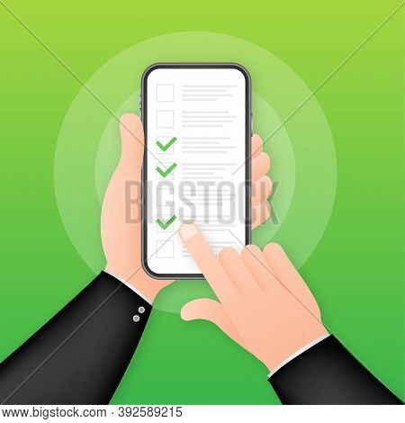 Green Check List Smartphone. Survey Vector Illustration. Green Tick. Flat Check List Smartphone For
