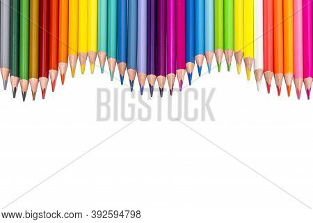 Colored Pencils - Isolated On The White Background Colored Pencils On A White Background Wave.