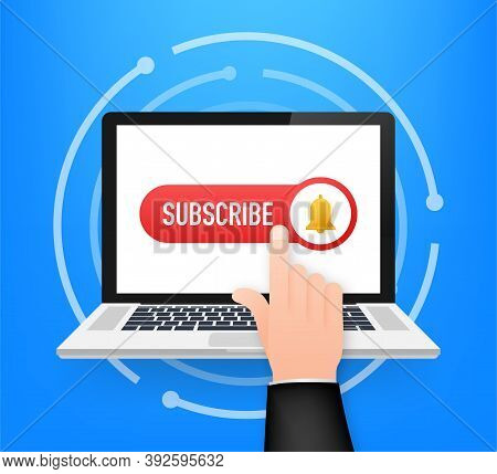 Subscribe Button Template With The Notification Bell On Laptop. News Subscribe Button. Business Conc