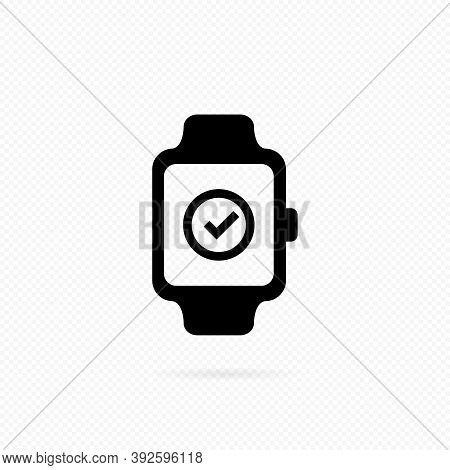 Smart Watch Line Icon. Smart Watch With Check Mark Button Icon . Media Player On Watch. Vector On Is