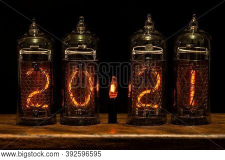 2021, Nixie Tube Showing 2021, Bright Red Numbers On Black Background