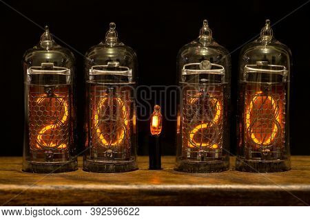 2020, Nixie Tube Showing 2020, Bright Red Numbers On Black Background