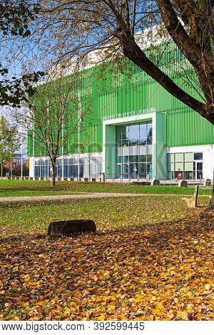 Ljubljana, Slovenia - November 1, 2020: Front View Of Gymnastics Center Ljubljana. Park And Front Po