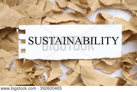 Sustainability, Text On White Paper On Torn Paper Background