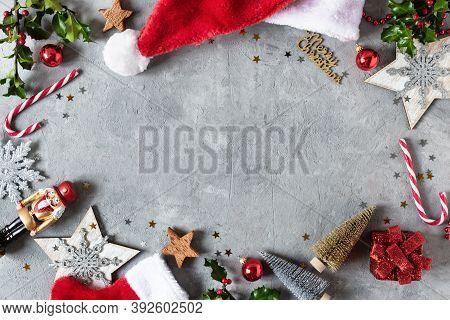 Christmas Background With Christmas Decoration, Christmas Candy Canes, Holly Berries Branches Top Vi