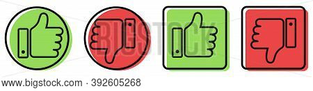 Thumbs Up And Down On White Background. Isolated Like And Dislike Symbol In Circle And Square Shapes
