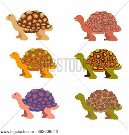 Cartoon Turtle. Six. Multicolored Little Turtles, Modern Colors. Vector Set. A Collection Of Cute Fr