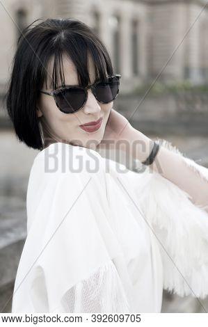 Hide Her Emotion Behind Sunglasses. Girl Brunette Bob Hairstyle Looks Stylish. Girl Fashionable Lady