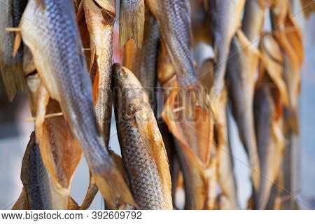 Dried Fish Hanging Rope Raw Seafood Drying Salted Beer Snack Dry Fish On Store Market Background