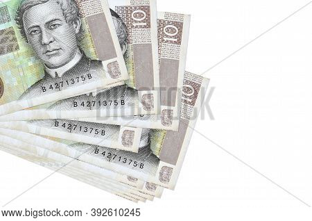 10 Croatian Kuna Bills Lies In Small Bunch Or Pack Isolated On White. Mockup With Copy Space. Busine