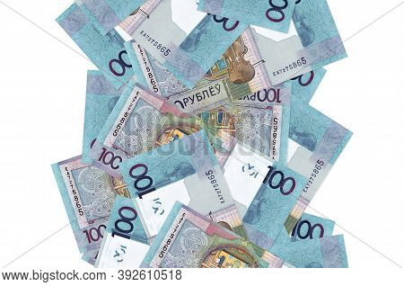 100 Belorussian Rubles Bills Flying Down Isolated On White. Many Banknotes Falling With White Copysp