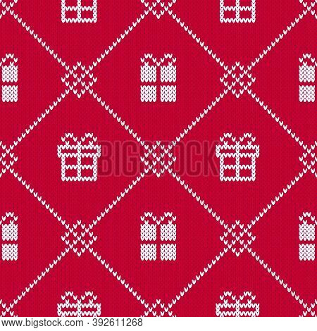Red And White Christmas Sweater Pattern With Gift Boxes. Seamless Winter Diamond Pattern With White