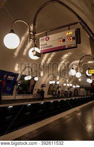 Paris, France - July 23, 2011: Platform Of The Line Four (line 4) Of The Paris Metro, On Cite Statio