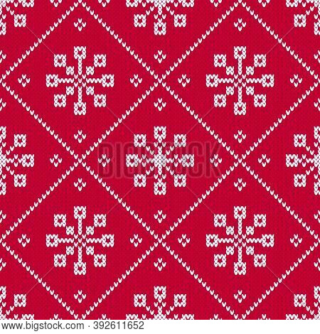 Red And White Christmas Sweater Seamless Diamond Pattern With Snowflakes. Knitted Fair Isle Style Wi