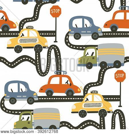 Seamless City Taxi And Truck Car Pattern Background. Cartoon Road Graphic Kid Illustration For Baby