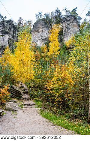 Sandstone Rock Formations In Vibrant Autumn Forest. Prachov Rocks, Czech: Prachovske Skaly, In Bohem