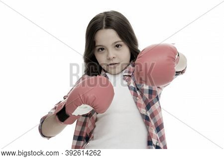 Girl Boxing Gloves Ready To Fight. Kid Strong And Independent Girl. Feel Strong And Independent. Gir