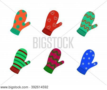 Set Of Colorful Mittens With Various Ornaments. Winter Warm Knitted Mittens Isolated On The White Ba