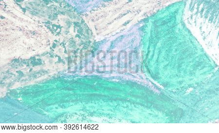 Retro Mixed Patterns. Abstract Dyed Banner.  Vintage  Watercolor Fabric. Green Template.  Mint Paint