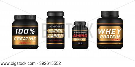 Sports Food Bottles And Low Sugar Protein Bars. Fitness Nutrition, Vitamins, L-carnitine, Casein Cap