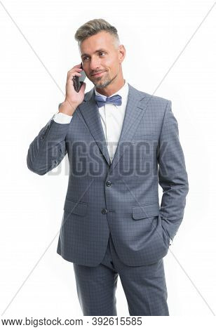 Nice To Hear. Entrepreneur Control Business Phone Call. Asking For Assistance. Businessman Call Smar