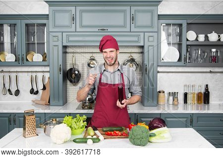Dont Like Smell. Young Chef Cook On Kitchen. Significant Source Of Nutrients. Weight Loss Product. A