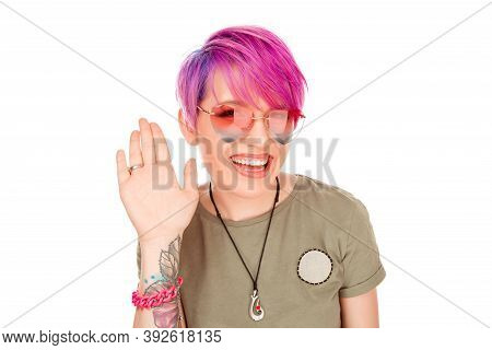 Young Woman Happy Smiling Greeting Someone Saying Showing Hi Waving With Hand To A Friend Acquaintan