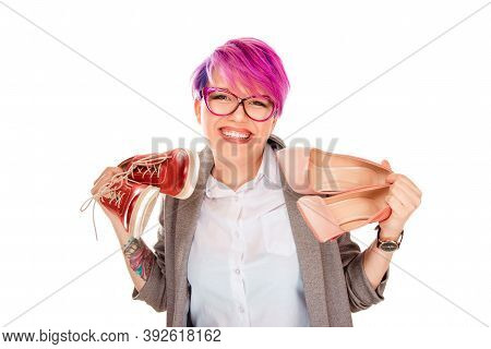 Girl With Two Pairs Of New Shoes Isolated On White Background. Woman Holding In One Hand High Heels