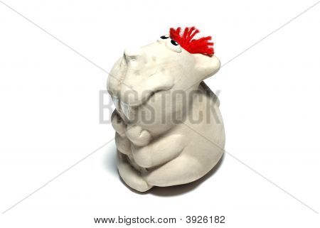 Ceramic Mouse Toy Isolated On White Background.