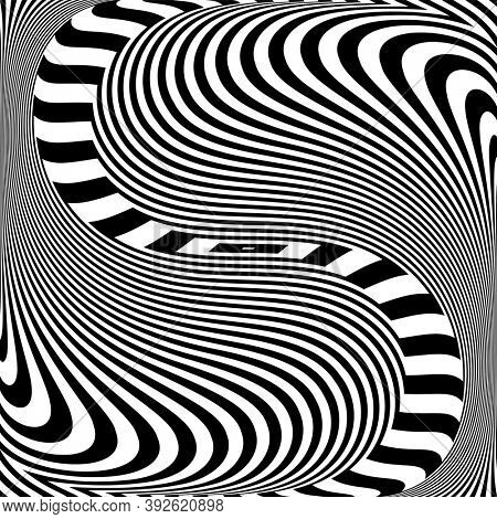 Illusion of wavy swirl movement. Abstract op art design.