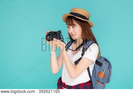 Beautiful Young Asian Woman Cheerful And Enjoy Travel Trip Summer Isolated On Blue Background, Asia
